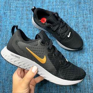 NWOT Nike Legend React Black/Gold Running Sneaker